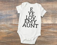 I love my uncle mike personalized baby boy and girl shirt clothes i love my uncle i love my aunt optometrist baby gifts eye chart negle Choice Image