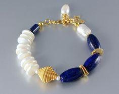 """Midnight Moon"" - Lapis Lazuli and Pearl Gold Bracelets"