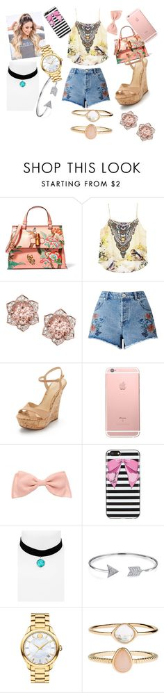 """""""Shopping Day"""" by lishi02 on Polyvore featuring Gucci, Miss Selfridge, Schutz, Harrods, Topshop, Bling Jewelry, Movado and Accessorize"""