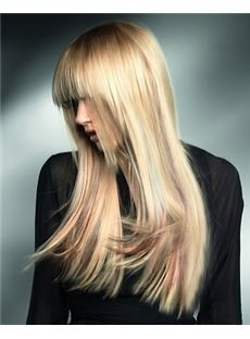 Dreamlike Hairstyle Trendy 2013 Newest Fashion Long Silky Straight Blonde Wig about 20 Inches For Pretty 100% Human Hair