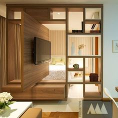 Bedroom Tv Stand Ideas New Gerelateerde Afbeelding Interior Ideas Living Room Partition, Room Partition Designs, Living Room Tv, Tv Stand Ideas For Living Room, Bedroom Tv Stand, Bedroom Tv Wall, Bedroom With Tv, Small Apartments, Small Spaces
