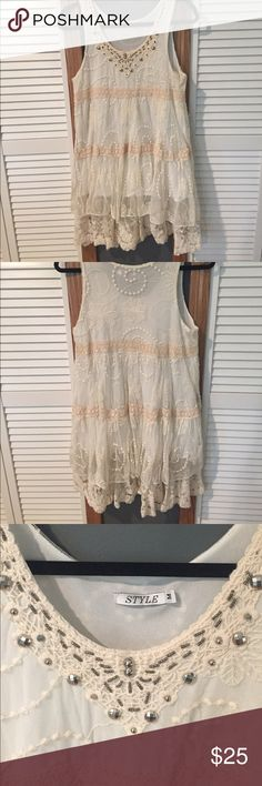 White lace dress Lace dress , white/off white , size M Dresses Midi