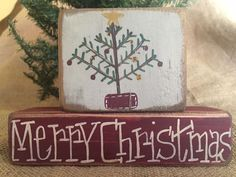 Primitive Country Xmas Tree Merry Christmas 2 pc Shelf Sitter Wood Block Set #PrimtiveCountry