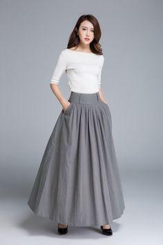 Dark grey skirt linen skirt full skirt swing skirt long