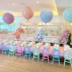 Pastel Party + Guest Table from a Here's the Scoop Pastel Ice Cream Party on Kar… - Party Ideas Unicorn Birthday Parties, First Birthday Parties, Birthday Party Themes, Girl Birthday, Kids Birthday Party Ideas, Princess Birthday Party Decorations, Colorful Birthday Party, Tea Party Birthday, Colorful Party