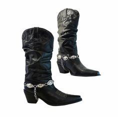 Womens Cowboy Boots Black Leather Slouch // by RetroVintage123, $98.00