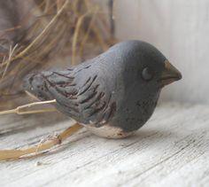 Snow Bird polymer clay charm. black bird. grey. by jettabugjewelry