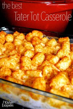 Simply the best tater tot casserole out there and simple enough that your kids can make it for dinner for you! It makes a great freezer meal as well. Tater tot casserole, always a favorite. Tater Tots, Cheesy Tater Tot Casserole, Casserole Dishes, Breakfast Casserole, Hamburger Hotdish, Breakfast Dessert, Breakfast Crockpot, Potato Tots, Enchilada Casserole