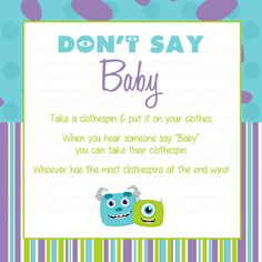 Monsters Inc Donu0027t Say Baby Game By RockinRompers On Etsy