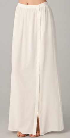 Simple Side-Button-Down White Maxi Skirt