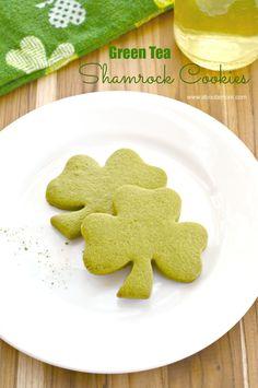 Matcha Green Tea Shamrock Cookies