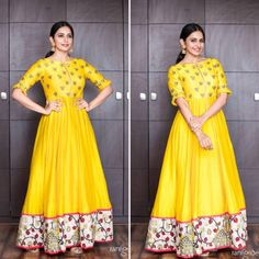 Yellow tapetasilk partywear gown with digital printed border