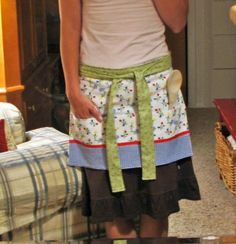 Super easy apron made out of a dishtowel!