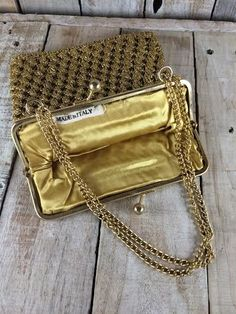 Women Gold Purse - Gold Chain Purse - italian purses italy - Ladies Gold Handbags - Chain Handbag purses - Gold handbag - Evening Bag by BostonInventory