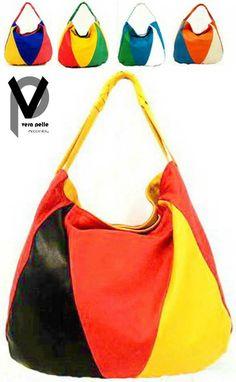 Vera Pelle Beuteltasche 35cm Echt Leder Handtasche Henkeltasche Multicolored