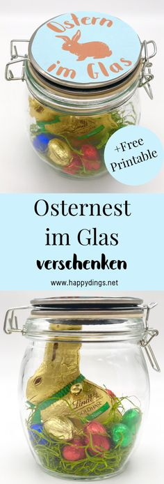 Osternest basteln – DIY Ostergeschenke im Glas selber machen Make Easter presents quickly and easily yourself. With these DIY gifts for Easter you will make [. Diy Christmas Decorations, Diy Christmas Gifts, Holiday Crafts, Christmas Wrapping, Diy Gifts For Kids, Craft Gifts, Diy For Kids, Easter Presents, Easter Gift