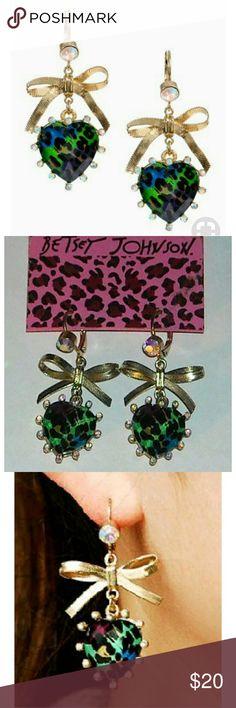 Betsey Johnson Asian Jungle heart dangle earrings Betsey Johnson Asian Jungle heart dangle earrings Betsey Johnson Jewelry Earrings