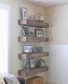 DIY Floating Shelves with a Pulley!