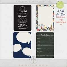 Free Hello School Journal Cards from Sabrina Dupre Designs {on Facebook}