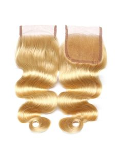 HC0010 4*4 Virgin Human Hair Closures 613 color Body Wave