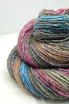Handspun Yarn Gently Thick and Thin Single Self Striping Gradient  OOAK  'Sari Doesn't Cut It'