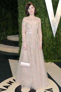 Fotos de la fiesta de Vanity Fair post Oscar 2013: Zooey Deschanel de Valentino