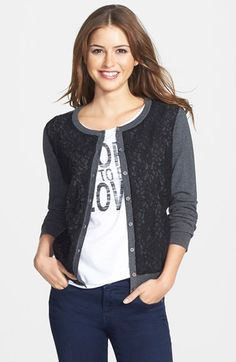 I'm not a lacy kind of woman but I like this jacket because it doesn't look to lacy.    Vince Camuto Lace Panel Cardigan | Nordstrom
