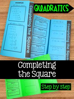 Algebra 1 eoc review flip book plus staar version math grades 7 step by step foldable for interactive notebooks or any notebook students learn to solve quadratic equations step by step using the completing the square fandeluxe Choice Image