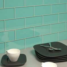 Glass brings a sleek look to the traditional subway tile design. For decades subway tile has been popular for both kitchen backsplashes and in bathrooms. Whether tiling a bath surround, a backsplash or Subway Tile Colors, Green Subway Tile, Ceramic Subway Tile, Subway Tile Kitchen, Glass Subway Tile, Color Tile, Kitchen Backsplash, Glass Tiles, Backsplash Ideas