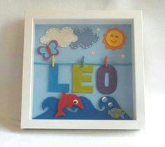 Cuadritos infantiles. Gift babyshower felt name Leon summer sea dolphin deco baby nursery