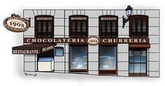 Madrid, Churros, Spanish, Paths, Sky, Restaurants, Illustrations, Spain, Spanish Language