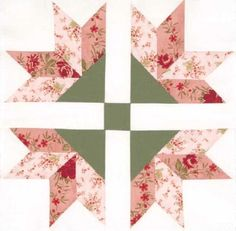 carnation quilt block | ... Four Corner Flowers Quilt Block stands out against a white background