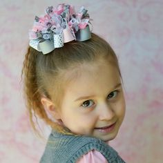 Pink and Gray Funky Loopy Bow ~ OTT ~ Classic ~ Chic by PunkyGirlBoutique on Etsy https://www.etsy.com/listing/218707741/pink-and-gray-funky-loopy-bow-ott