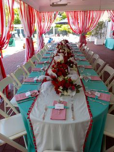 Teal Red And White Streamers Create A Tent Carnival Birthday PartiesCircus