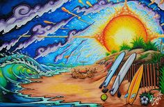 SUMMER SOLSTICE 24 x 36 mixed media on canvas by Drew Brophy 2014
