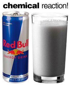 Fun Science Experiment: Pour whole milk and add red bull - let sit 5 minutes and the acid in the red bull will cause the protein in the milk to separate - liquid changing to solid! New Science Experiment to try!