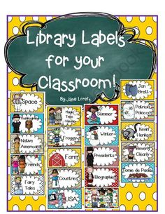 Library Labels for your Classroom from Seejaneteachmultiage on TeachersNotebook.com (26 pages)  - Classroom Library Labels perfect for small book boxes or bins!