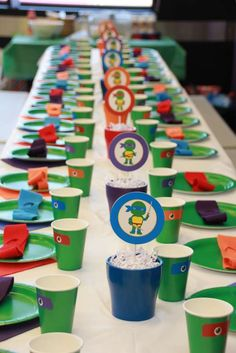 Very fun table at a Teenage Mutant Ninja Turtles birthday party! See more party planning ideas at CatchMyParty.com!