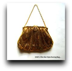 Gold Mesh Evening Purse with Diamante Clasp by GentlemanlyPursuits