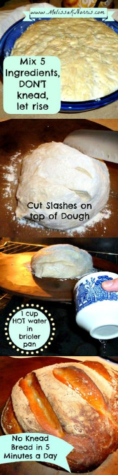 No Knead 5 Ingredient Bread in 5 minutes a day. Costs $.30 a loaf. Recipe at www.melissaknorris.com @MelissaKNorris