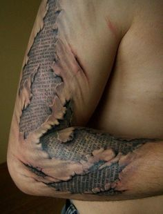 See more 3D Newspaper design tattoo on arms