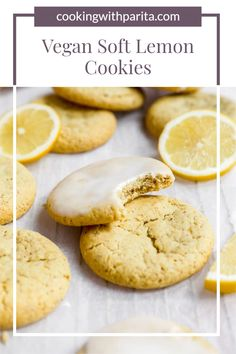 These melt in your mouth Soft Lemon Vegan Cookies are irresistible, tangy, soft, slightly thick. Drizzle or dunk them in some lemon glaze for an added boost of sweetness and tang! #vegan #vegancookies #lemoncookies #softcookies #softlemoncookies #bestlemoncookies