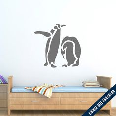 Penguin Duo Wall Decal  Animal  Vinyl Sticker by urbandecal