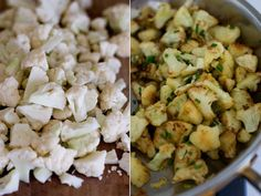 Cauliflower with Parmesan, garlic and salt: this is my go-to dinner, I always keep the ingredients on hand. I throw tofu into the skillet when browning the cauliflower too