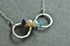 Custom Mother's Birthstone Necklace  INFINITE LOVE - Up to 4 stones. $65.00, via Etsy.