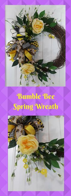 Spring is in the air! Enjoy this beautifully handmade wreath bumble bee and yellow roses. This wreath will last from now till the end of summer.  http://etsy.me/2nIP1gu