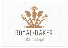 Logo for sale: Royal baking crown logo created with various baking tools and utensils. The outer section of the crown is created with two whisks with the inter portion of the crown created with spatulas and pastry/piping bag. The bottom of the crown is a rolling pin.