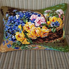 Handmade upcycled vintage flower basket needlepoint cushion cover by KindredClassics on Etsy Neutral Colors, Colours, Dark Red Background, Floral Cushions, Needlepoint Kits, Upcycled Vintage, Flower Basket, Summer Garden, Wool Yarn