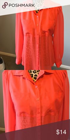 Shear long sleeve with collar blouse Shear long sleeve with collar blouse with 2 front pockets Candie's Tops Blouses