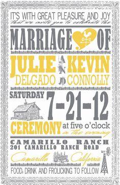 cute yellow & gray wedding invitations